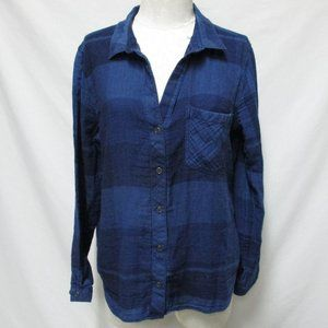 Anthropologie Cloth & Stone plaid button top XL